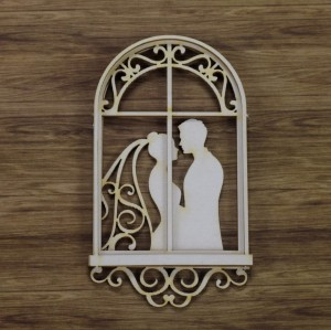 Window with bride and groom