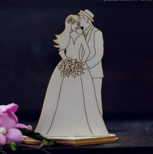 Bride and groom on stand