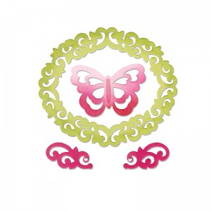 Wykrojnik  Butterfly, Flourishes & Frame by Rachel Bright